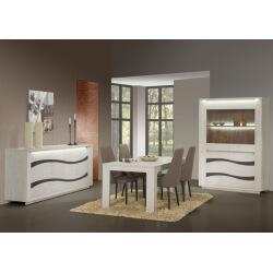 Salle à manger contemporaine coloris chêne blanc Joelle II