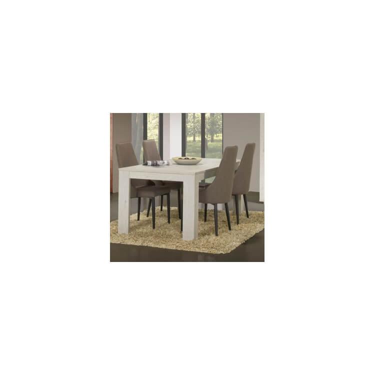 Table de salle à manger contemporaine coloris chêne blanc Joelle