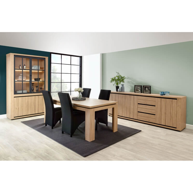 table de salle manger contemporaine coloris ch ne cassel. Black Bedroom Furniture Sets. Home Design Ideas