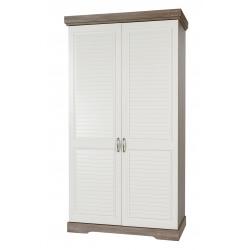 Armoire 2 portes contemporaine coloris truffe/porcelaine Celesta