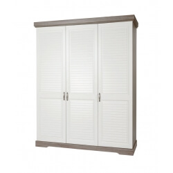 Armoire 3 portes contemporaine coloris truffe/porcelaine Celesta