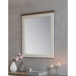 Miroir rectangulaire contemporain coloris truffe/porcelaine Celesta