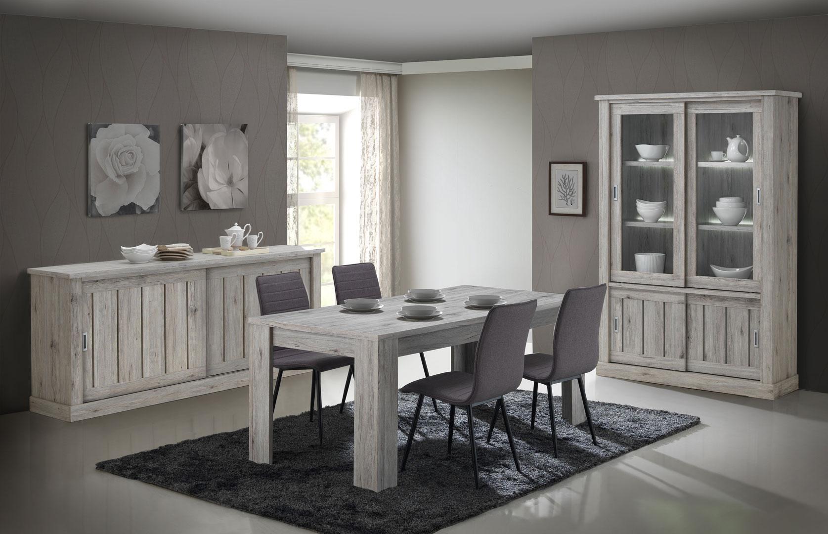 Salle à manger contemporaine coloris chêne rustique Avril