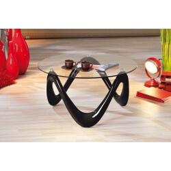 Table basse design noire en verre Justine