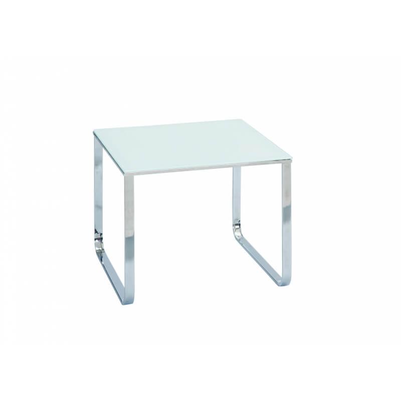 table basse design carr e en m tal et verre blanc masha. Black Bedroom Furniture Sets. Home Design Ideas