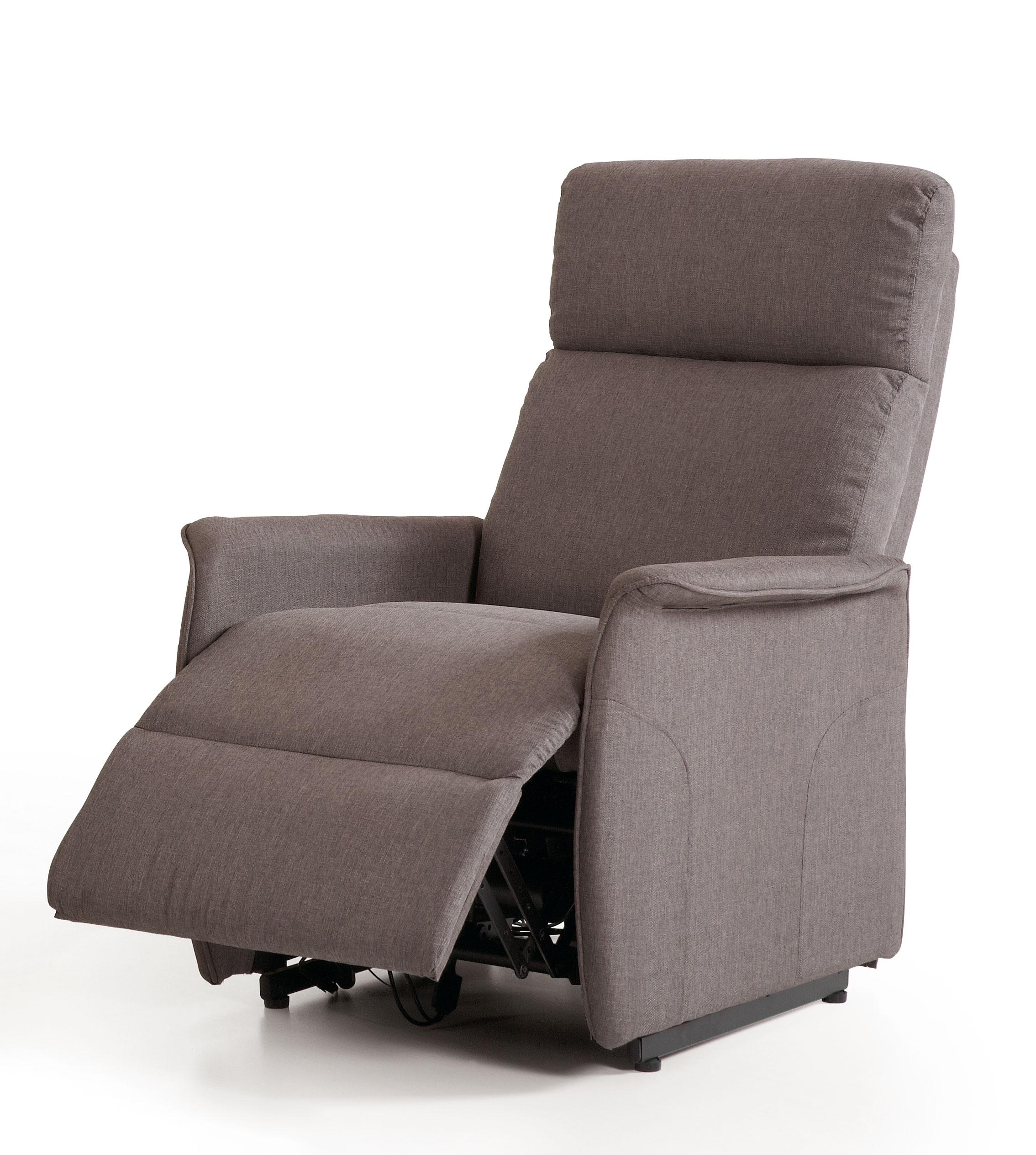 Fauteuil de relaxation électrique avec releveur en tissu gris Clara