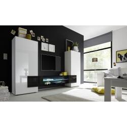Ensemble TV design laqué noir et blanc Alaska