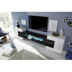 Meuble TV design laqué blanc et noir Richie