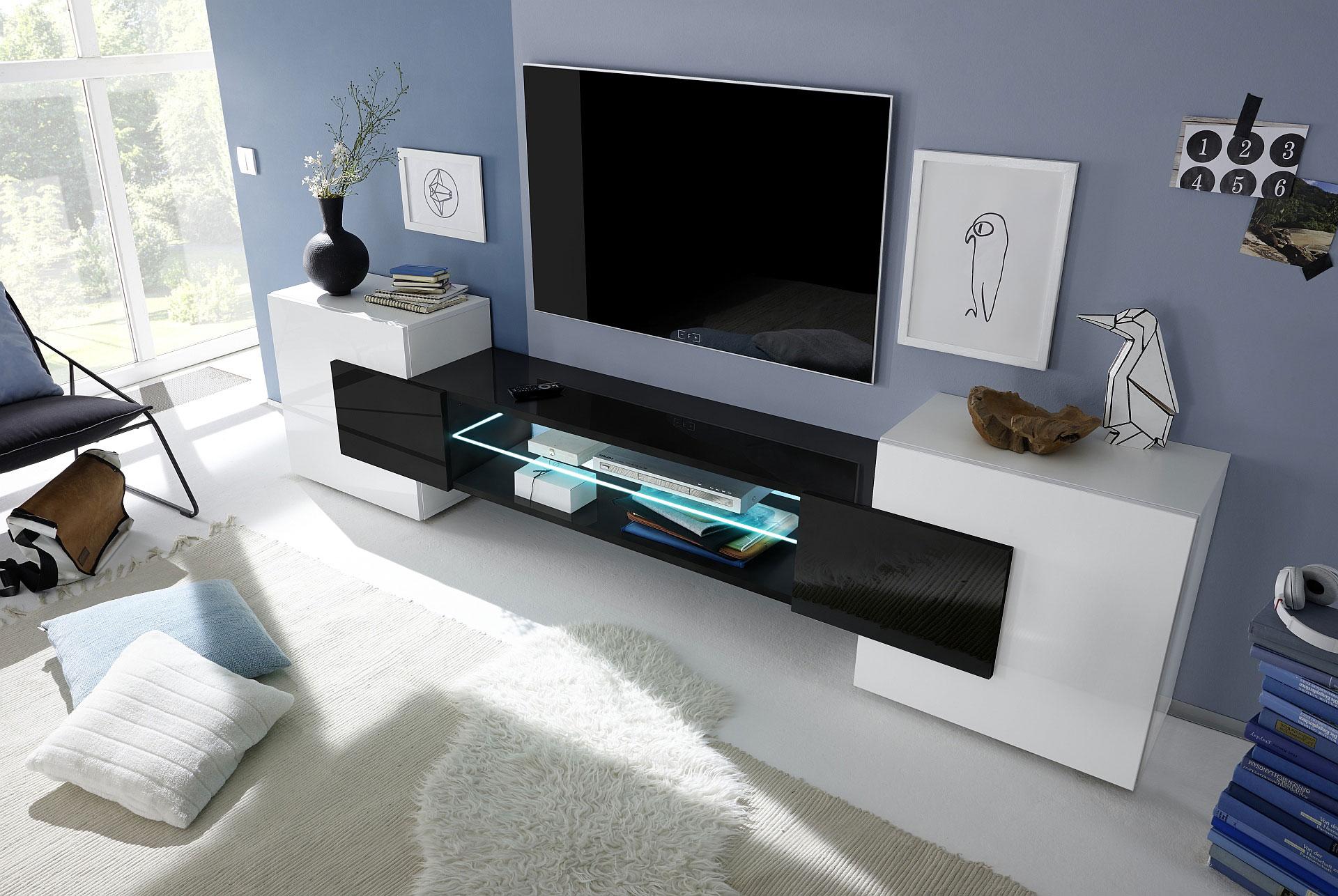 Meuble Tv Design Laque Blanc Et Noir Richie Matelpro