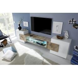 Meuble TV design blanc laqué/chêne Richie