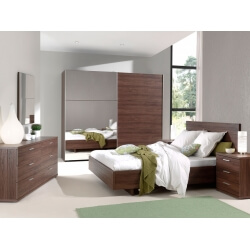 Chambre adulte contemporaine coloris noyer Manolo II