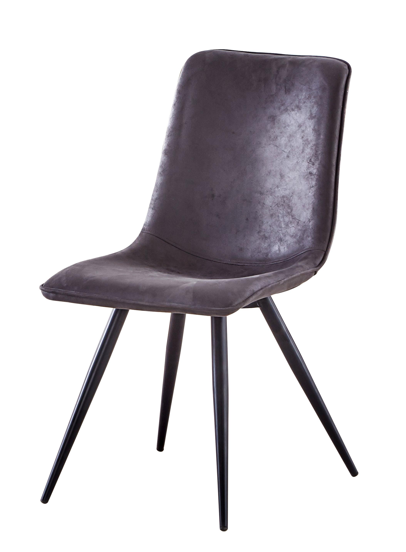 Chaise de salle à manger design en tissu gris (lot de 4) Marthe