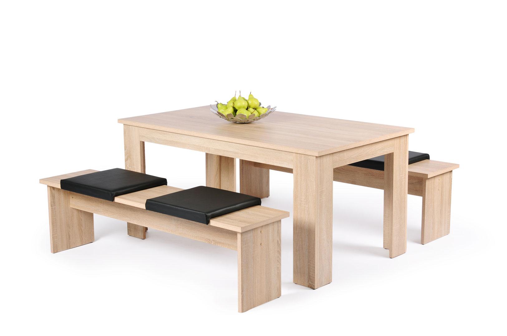 Ensemble Table Et Bancs Contemporain Coloris Chêne Sonomanoir