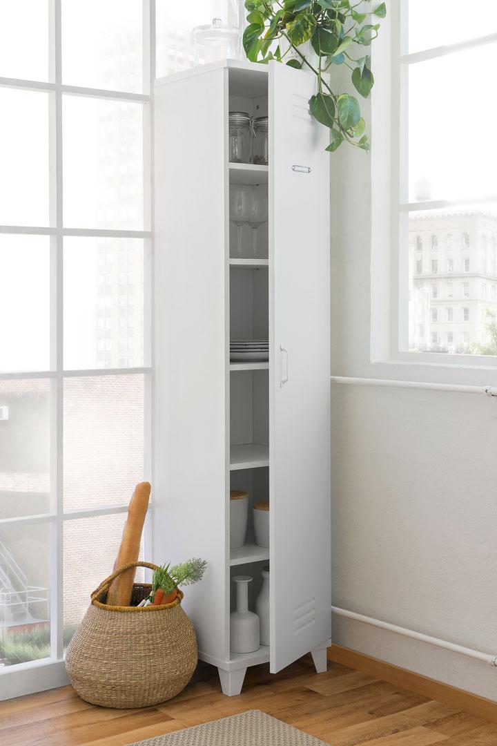 Armoire de rangement design 1 porte coloris blanc Fabrik | Matelpro