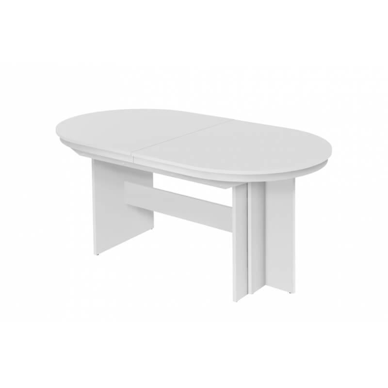 table de salle manger ovale extensible contemporaine blanche janis. Black Bedroom Furniture Sets. Home Design Ideas
