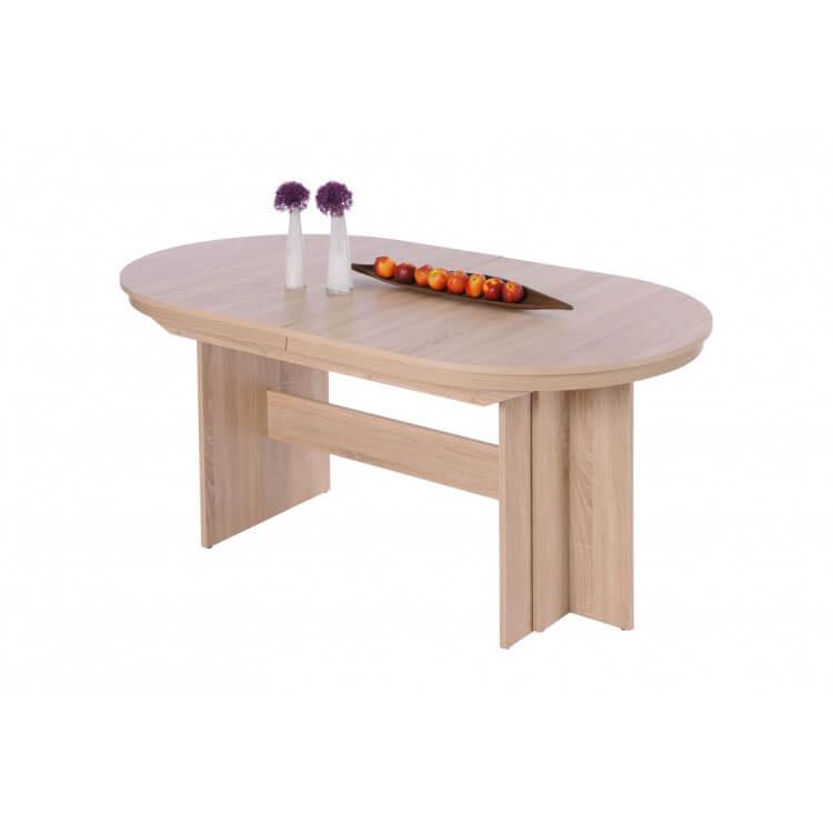 Table De Salle A Manger Ovale Extensible Contemporaine Coloris Chene Clair Janis
