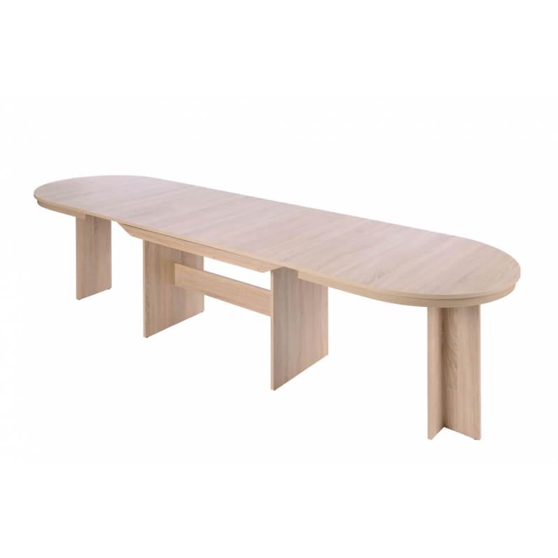 Table de salle manger ovale extensible contemporaine coloris ch ne clair janis matelpro - Table salle a manger chene clair ...