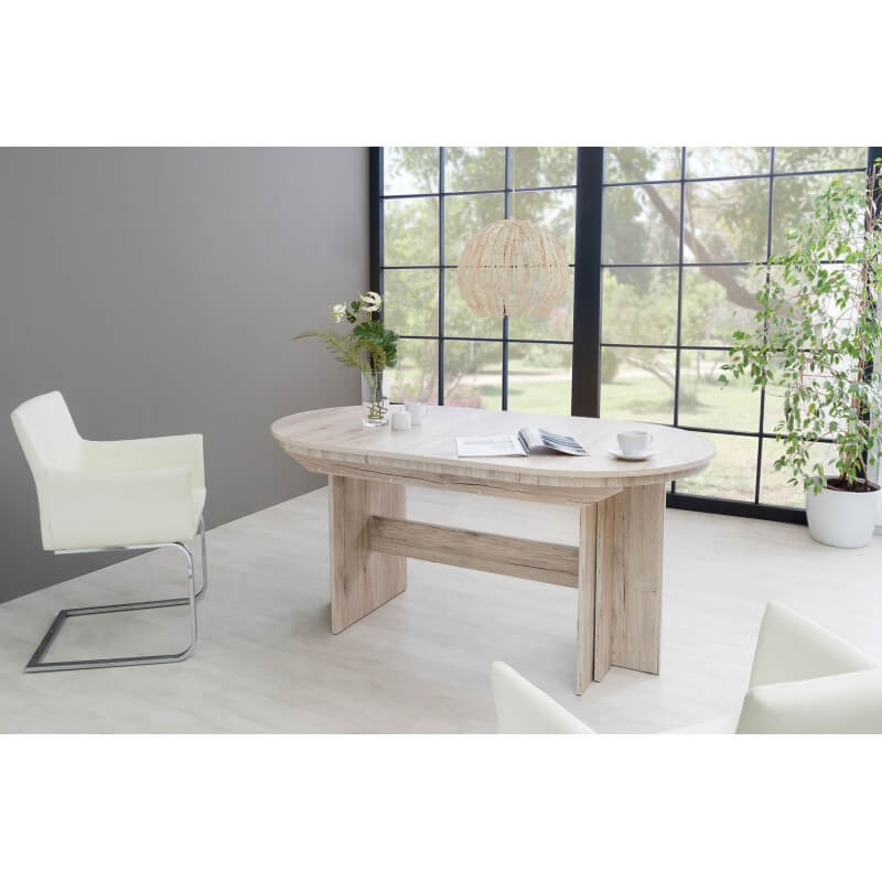 Table de salle manger ovale extensible contemporaine coloris ch ne sorrento janis - Table salle a manger ovale extensible ...