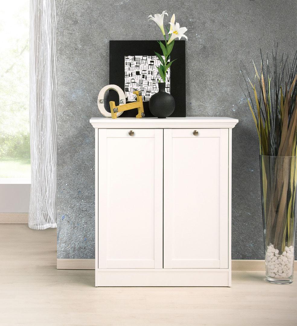 Meuble de rangement contemporain 2 portes coloris blanc Natural | Matelpro