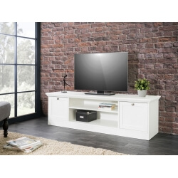 Meuble TV contemporain coloris blanc Natural