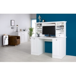 Bureau contemporain avec réhausse coloris blanc Natural II