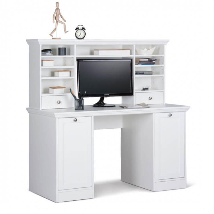 bureau contemporain avec r hausse coloris blanc natural ii matelpro. Black Bedroom Furniture Sets. Home Design Ideas