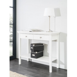 Console rectangulaire contemporaine coloris blanc Natural