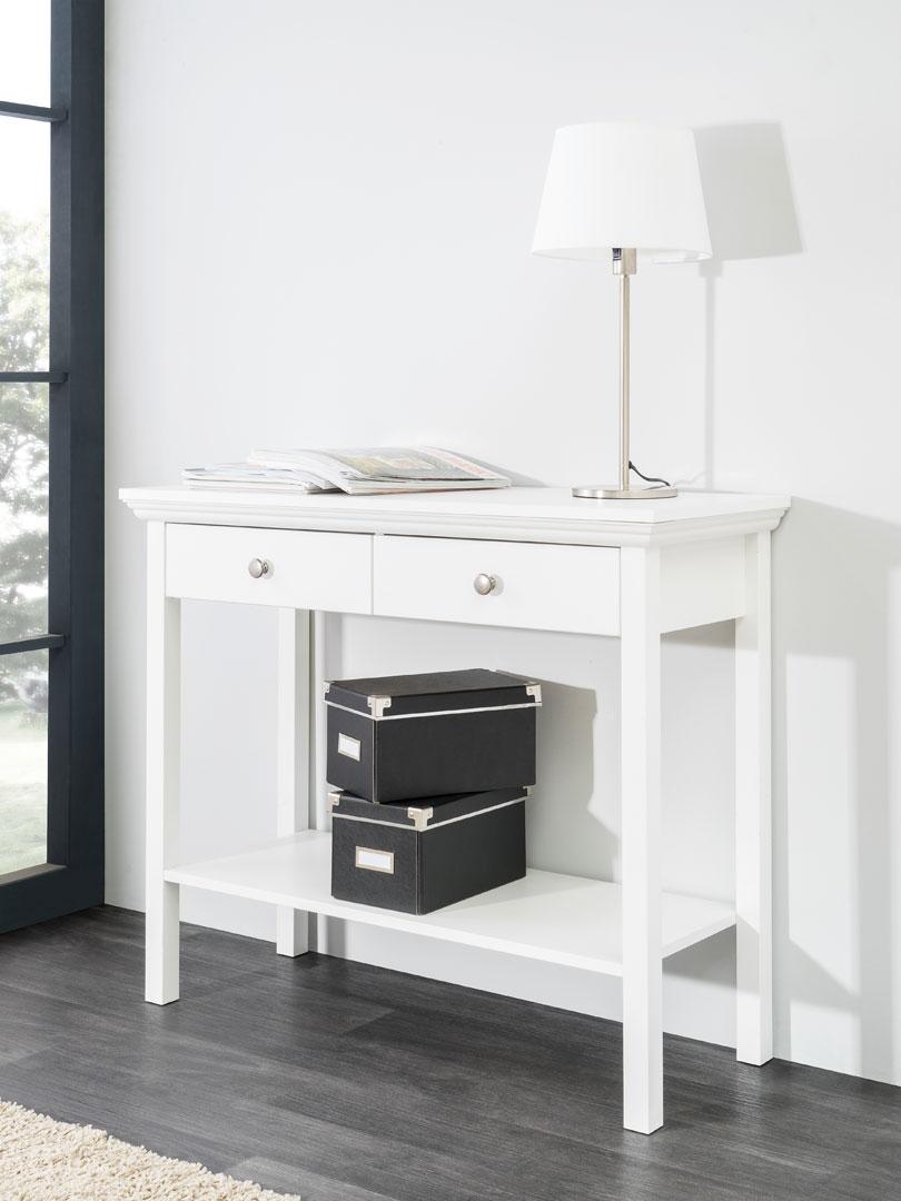 Console rectangulaire contemporaine coloris blanc Natural