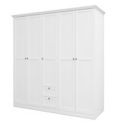 Armoire contemporaine 5 portes/2 tiroirs coloris blanc Natural