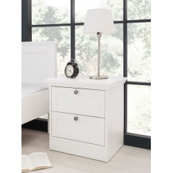 Chevet contemporain 2 tiroirs coloris blanc Natural