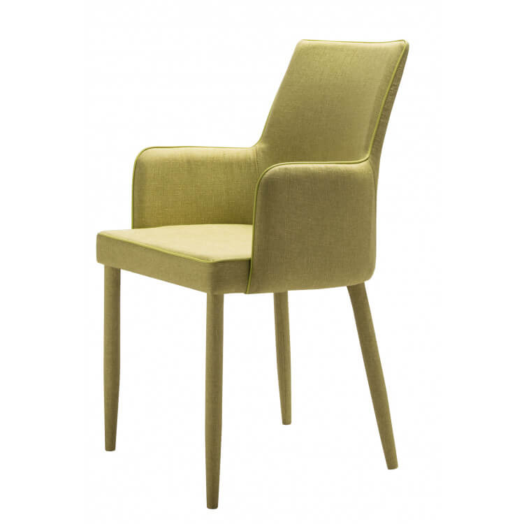 Chaise De Salle A Manger Design En Tissu Vert Lot De 4 Mistral