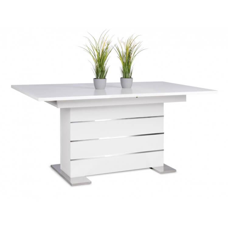 Table de salle à manger extensible design blanche Cyprien