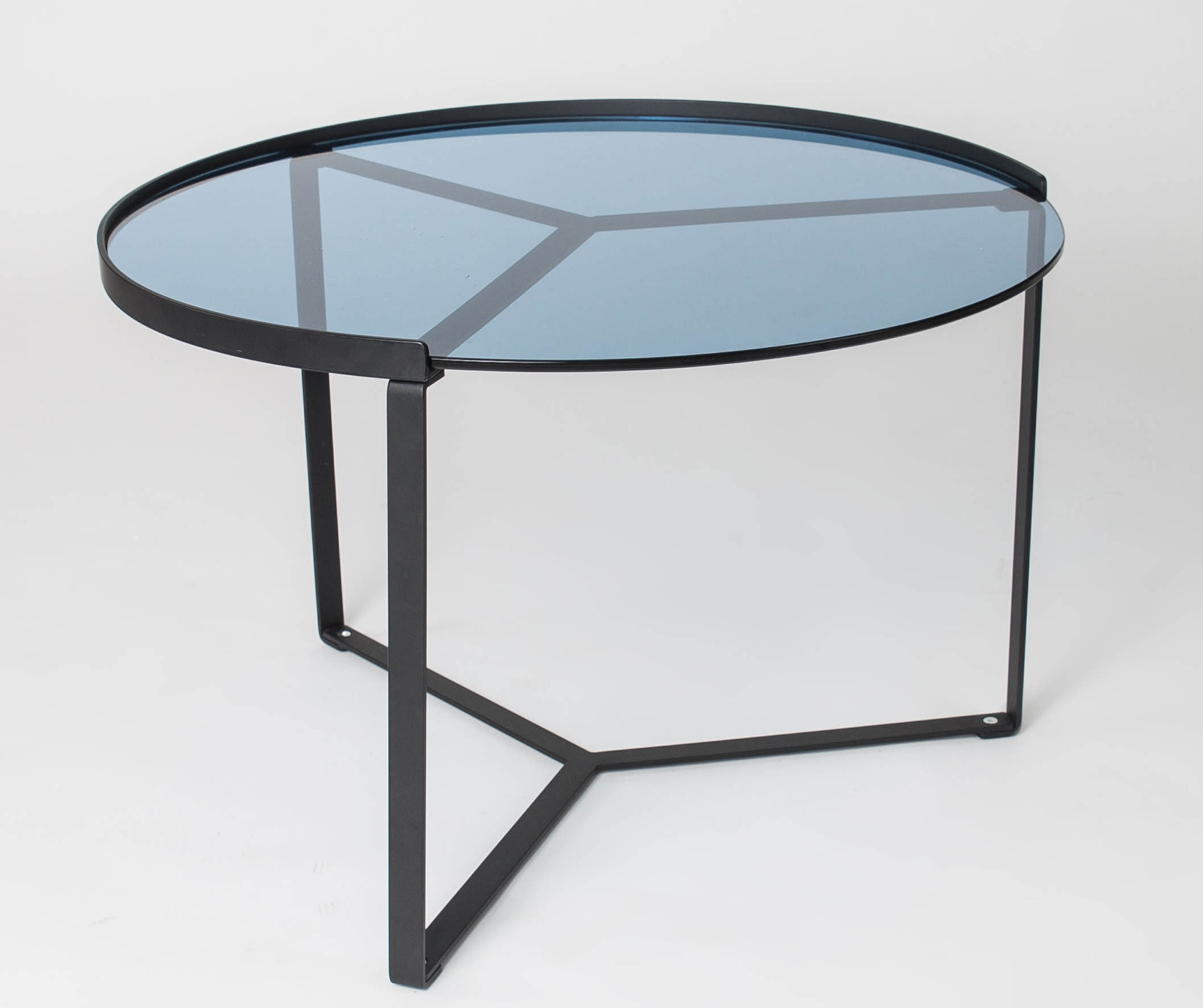 Table Basse Design Ronde En Metal Noir Verre Bleu Elise Ii