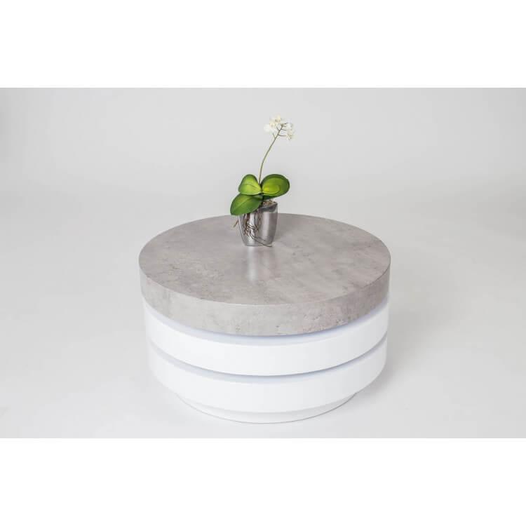 Table Basse Design Ronde En Bois Coloris Blanc Beton Celia