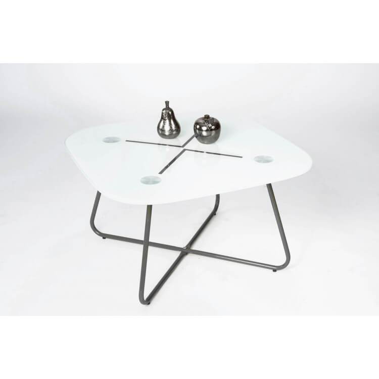 table basse design carr e en m tal noir verre blanc elias. Black Bedroom Furniture Sets. Home Design Ideas