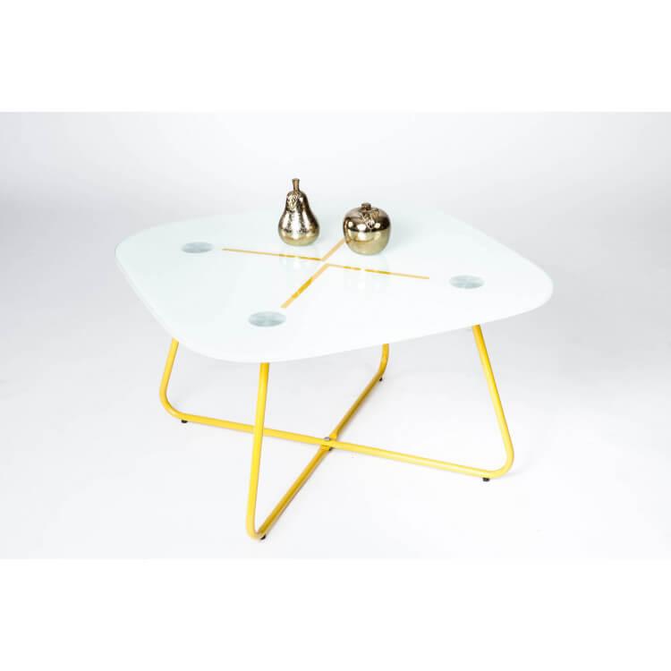 Table Basse Design Carrée En Métal Jaune Verre Blanc Elias