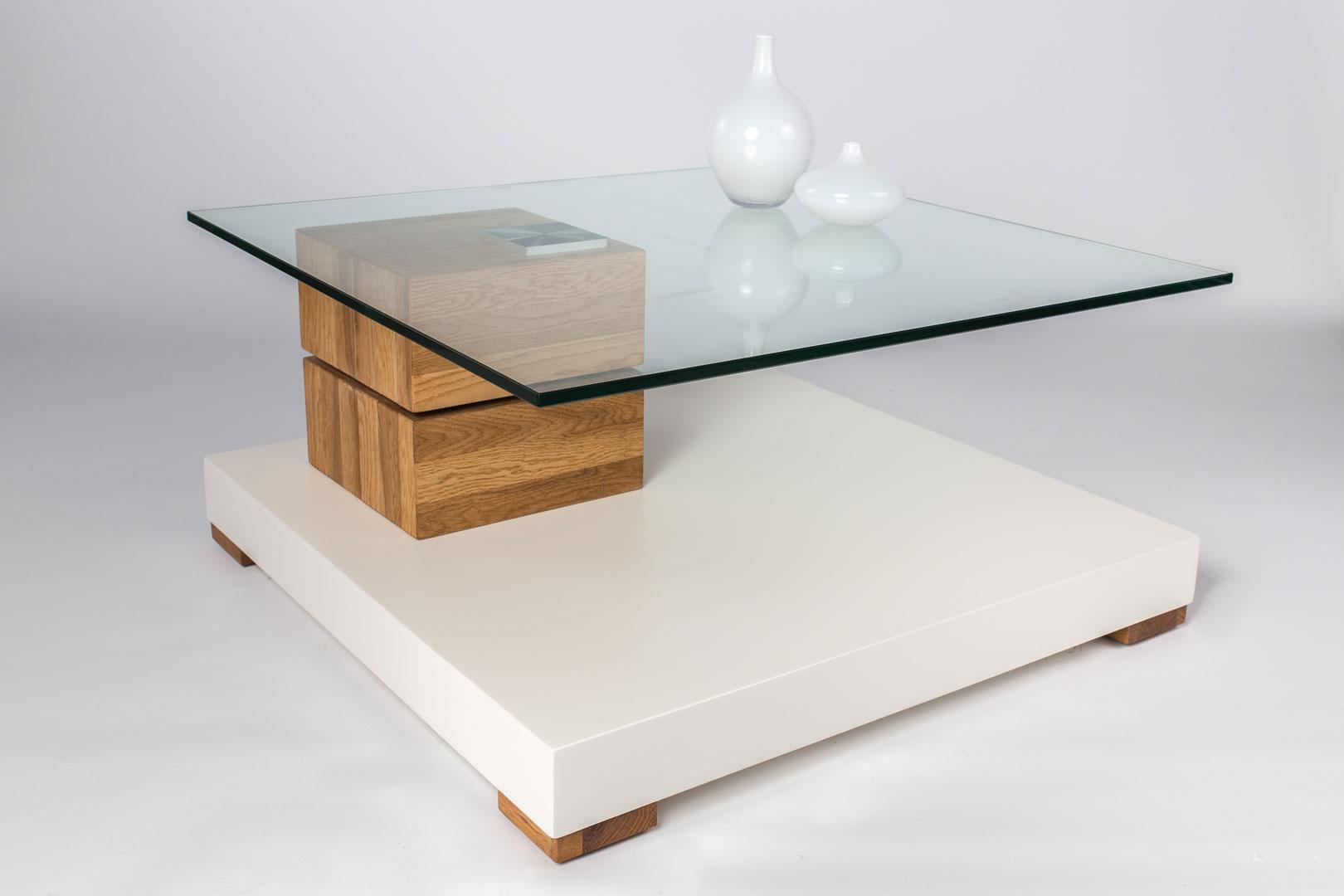 Table Basse Design Pivotante Coloris Chêneblanc Mat Marocco