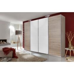 Armoire adulte design portes coulissantes coloris chêne/blanc Marion