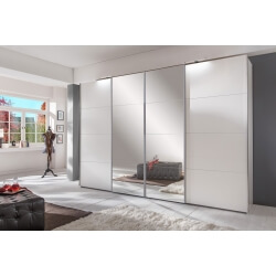 Armoire adulte design blanche portes automatiques avec miroirs 270 cm Marion