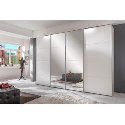 Armoire adulte design blanche portes automatiques avec miroirs 313 cm Marion