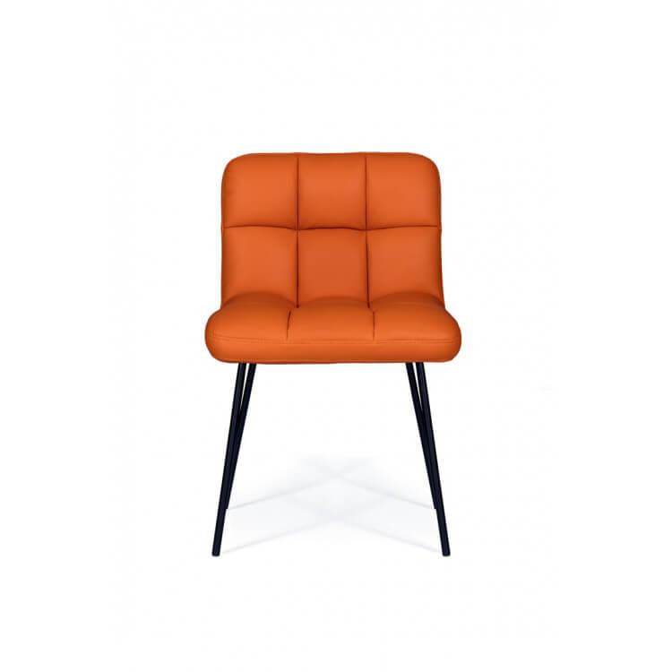 Chaise De Salle A Manger Design En Metal Et Pu Coloris Orange Lot