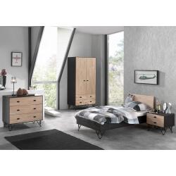 Chambre enfant contemporaine en bois massif coloris chêne/noir laqué Florinda
