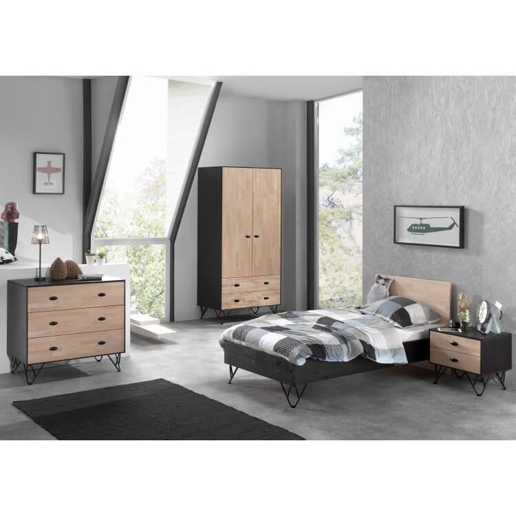 Chambre enfant industrielle bois massif chêne/noir laqué Florinda