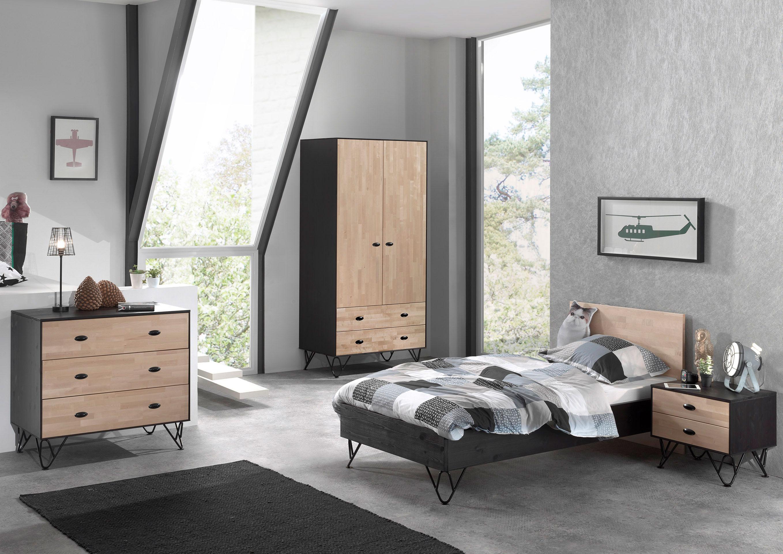 Chambre enfant contemporaine en bois massif coloris chêne/noir laqué ...