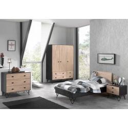 Chambre enfant contemporaine en bois massif coloris chêne/noir laqué Florinda II
