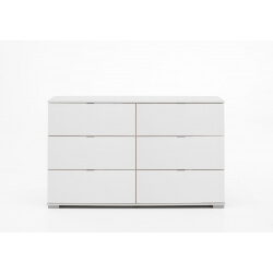 Commode design 6 tiroirs coloris blanc Raphaela