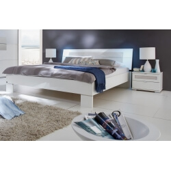 Lit adulte design coloris blanc Raphaela