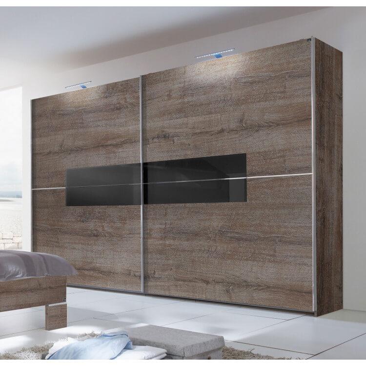 Armoire adulte design portes coulissantes 200 cm coloris chêne chataigne/verre noir Kristel