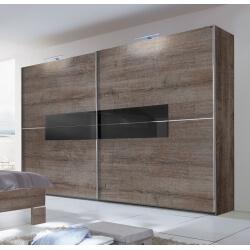 Armoire adulte design portes coulissantes 250 cm coloris chêne chataigne/verre noir Kristel