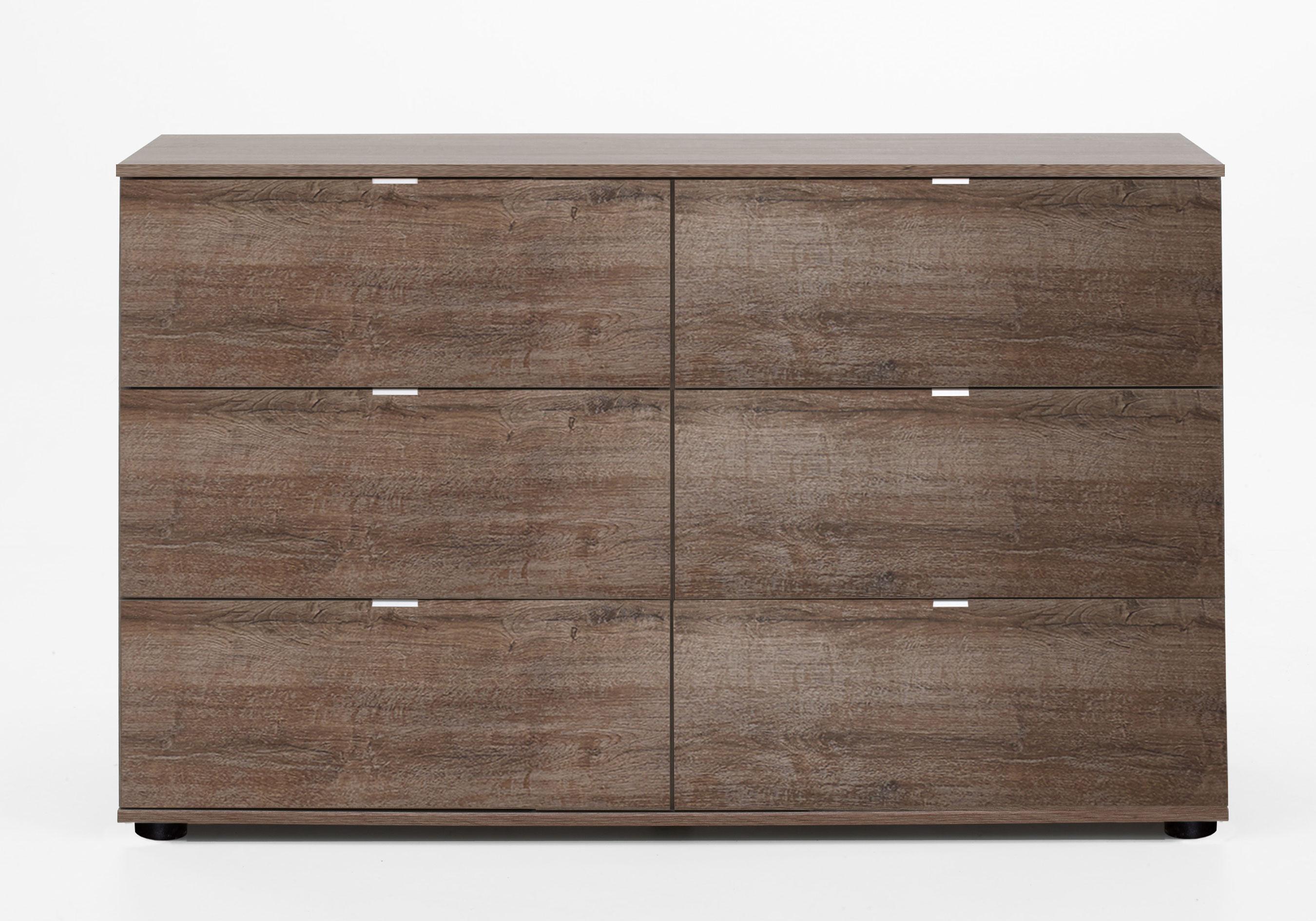 Commode design 6 tiroirs coloris chêne chataigne Kristel